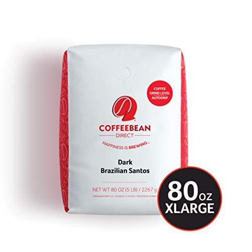 Coffee Bean Direct Dark Brazilian Santos, Dark Roast, Ground Coffee, 5 Pound