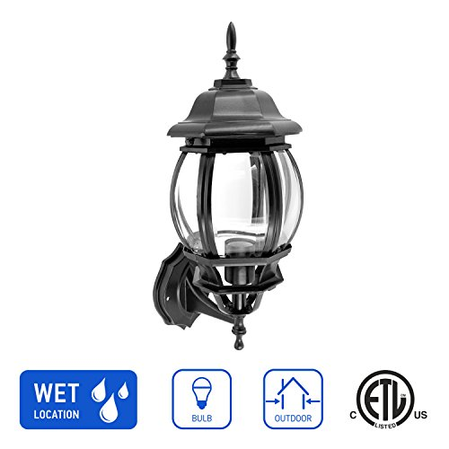 IN HOME 1-Light Outdoor Exterior Wall Up Lantern, Traditional Porch Patio Lighting Fixture L08 with One E26 Base, Water-Proof, Black Cast Aluminum Housing, Clear Glass Panels, ETL Listed