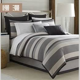 Cotton black white gray stripes four-piece cotton bed sheets-fitted cover understated luxury bedding