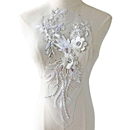 Vintage Flower Applique Patch Sequined Rhinestone Lace Motif 3D Flower Beading Embroidery Addition for Lyrical Dance Costumes Party Dress Off-White Color ()