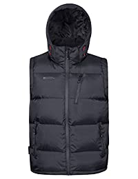 Mountain Warehouse Frost Extreme Men's Down Padded Gilet - Water-Resistant Fabric with Down Proof Lining & Waterproof Zips - Perfect for light showers and everyday use Black Medium