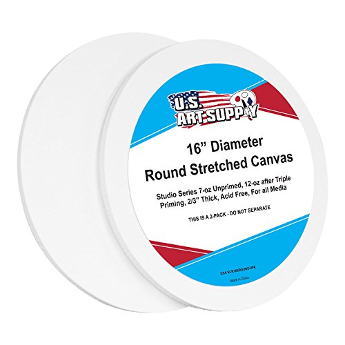 U.S. Art Supply 16 inch Diameter Round 12 Ounce Primed Gesso Professional Quality Acid-Free Stretched Canvas (Pack of 2) by US Art Supply
