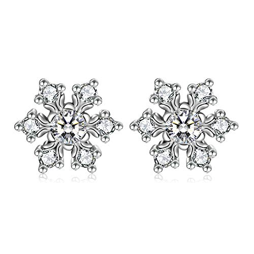 WINNICACA Womens Hypoallergenic Snowflake Flower Stud Earrings Simulated Diamond Cubic Zirconia Earring Studs Cheap Fashion Jewelry for Girls Birthday Christmas Gifts