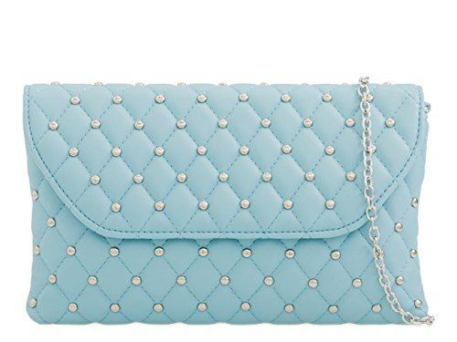 Ladies Clutch Evening Dressy Faux Light Occasion Bags Womens Leather M5 Party Quilted Prom Blue Hand dvfYqwZ