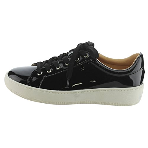 Betani Ei30 Femmes Lacets Bas Haut Rembourré Talon Col Vegan Mode Sneakers Noir
