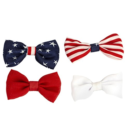 Lux Accessories Red White Blue Patriotic American Flag Hair Bow Clips (4pcs) -