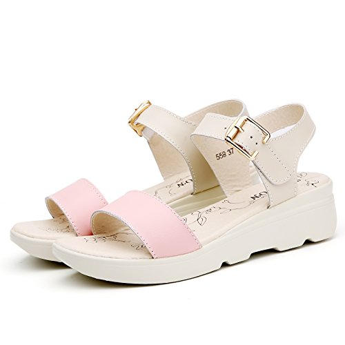 Moda Mujer verano sandalias confortables tacones altos,36 negro Pink