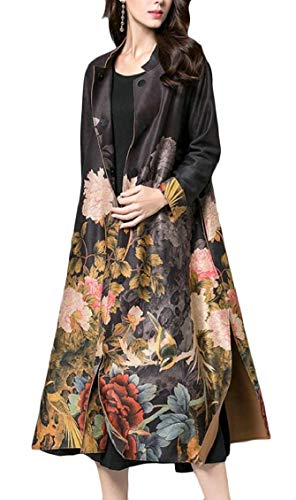 Sweatwater Women Jacket Chinese Style Ethnic Floral Open Front Print Trench Coat Black - Coat Floral Womens Trench