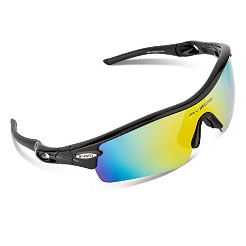 RIVBOS¨ 805 Polarized Sports Sunglasses Glasses with 5 Interchangeable Lenses for Cycling