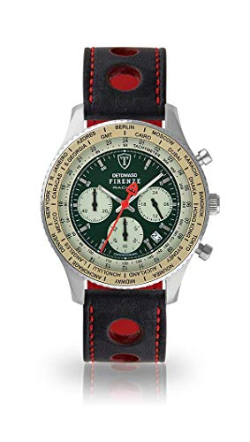 DETOMASO Firenze Mens Watch Chronograph Analogue Quartz Black Racing Leather Strap Green Dial DT1069-B-836