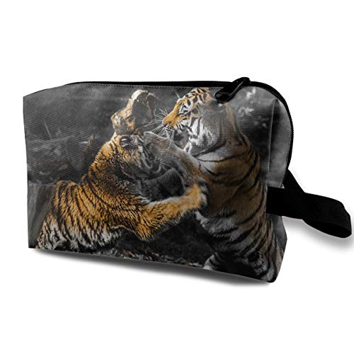 With Wristlet Cosmetic Bags Fight Tigers Travel Portable Makeup Bag Zipper Wallet Hangbag ()