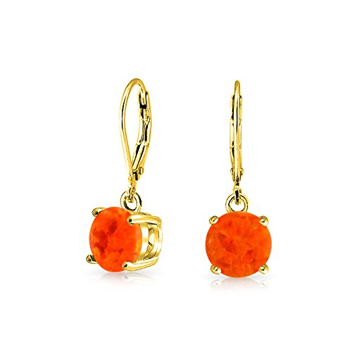 Simple Round Solitaire Orange Created Mexican Created Opal Leverback Drop Earrings 14K Gold Plated 925 Sterling Silver