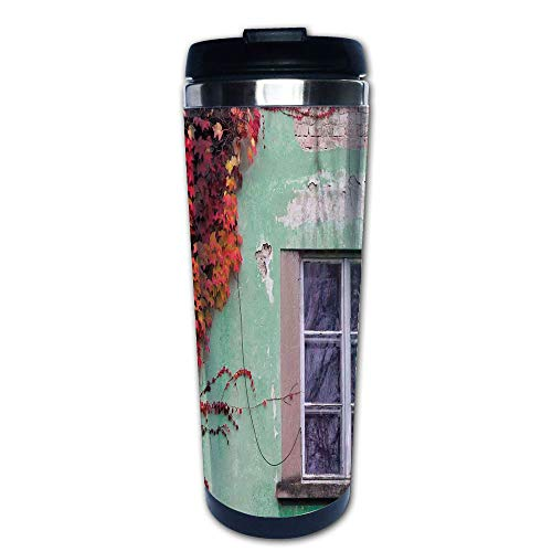 Stainless Steel Insulated Coffee Travel Mug,Walls Left Countryside Mansion Vintage Architecture,Spill Proof Flip Lid Insulated Coffee cup Keeps Hot or Cold 13.6oz(400 ml) Customizable printing