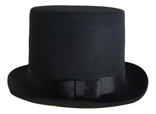 4faa640da45 Amazon.com  Deluxe Felt High Crown Costume Top Hat Victorian Dickens Black  Adult Size  Clothing