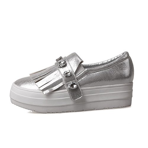Shoes Pu Women's WeiPoot Pull Closed High Pumps On Round Silver Heels Solid Toe Pfqqad5w