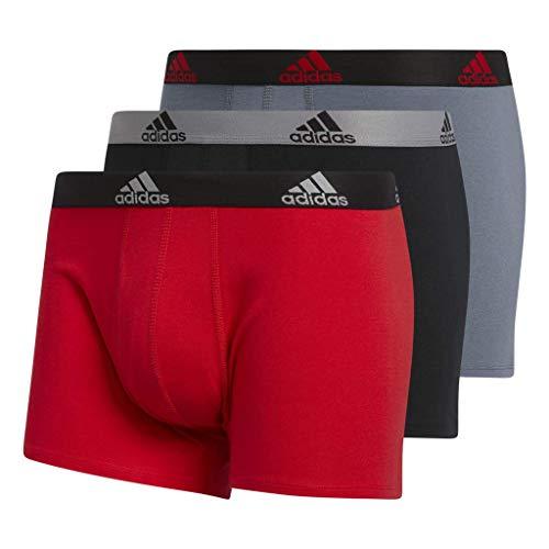 adidas Men's Stretch Cotton Trunks Underwear (3-Pack), Scarlet/Black Black/Grey Onix/Black, Medium