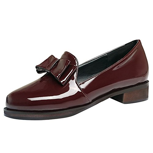 Mee Shoes Damen chunky heels Lackleder Schleife Pumps Weinrot