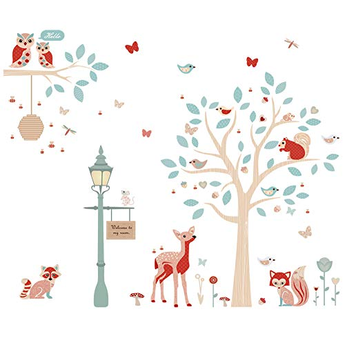 ufengke Forest Animals Wall Stickers Tree Deer Wall Art Decals Wall Decor for Kids Bedroom Nursery Living Room ()