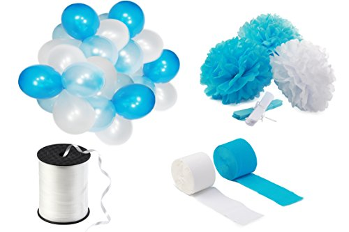 [Party Decoration Kit - Set of 100 Helium Latex Balloons, 6 Tissue Paper Flower Pom Poms, 2 Crepe Streamers, 1 Curling Ribbon Spool for Birthdays, Baby Showers, Graduation, Nursery Decor by LOCO] (Amazing Spider Man Costumes 360)