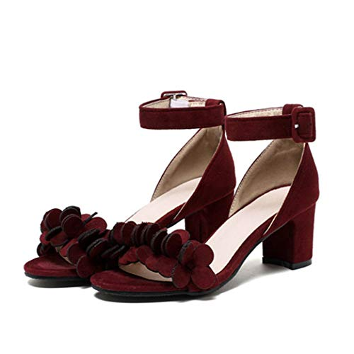 Women's Chunky Heel Ankle Strap Sandals Suede Floral Single Band Open Toe Mid Block Heel Dress Sandal Wine Red