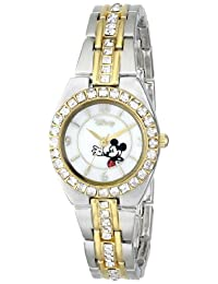 Disney Women's Mickey Mouse Two Tone Rhinestone Watch Mother-Of-Pearl MK2003