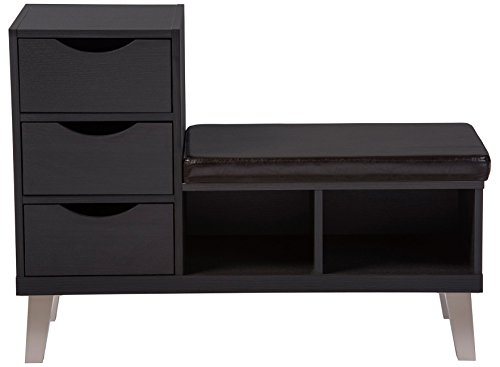 Baxton Studio Arielle Modern Contemporary Wood 3 Drawer Shoe Storage Padded Leatherette Seating Bench with Two Open Shelves, Dark Brown - Modern and contemporary seating bench Materials:  engineered wood Faux wood grain veneer - entryway-furniture-decor, entryway-laundry-room, benches - 418gQ0yLI7L -