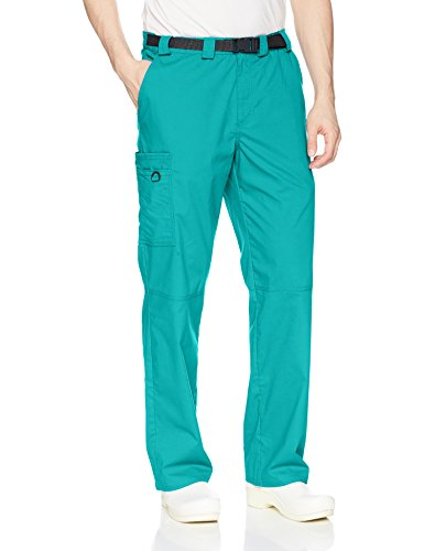 Poplin Belted Belt - Code Happy Men's Straight Leg Belted Cargo Pant, Teal Large