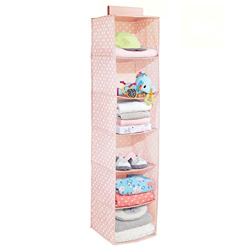 mDesign Soft Fabric Over Closet Rod Hanging Storage Organizer with 6 Shelves for Child/Kids Room or Nursery - Polka Dot Pattern - Light Pink with White Dots