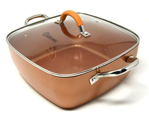 Replacement Lid for Copper Chef Copper Fry Pan Skillet and Measures 11'' Square Tempered Glass Lid with Premium Silicone Wrapped Handle by Salbree by Salbree (Image #3)