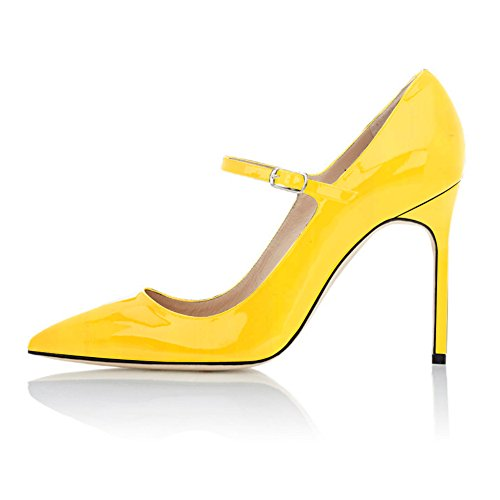 Yellow Jane Pumps Shoe Ankle Women's Toe Heel Pointed High Mary Strap Sammitop With xnT7qOwAw