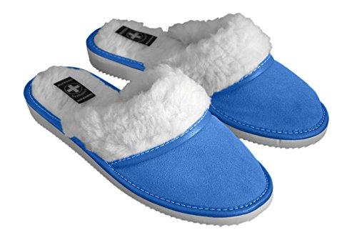 aveente - Zapatillas de estar por casa de Ante para mujer Azul