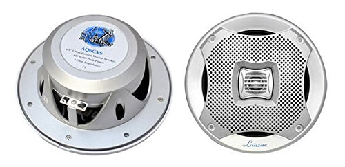 Lanzar 6.25 Inch Marine Speakers - 2 Way Water Resistant Audio Stereo Sound System with 400 Watt Power, Attachable Grills and Resin Treatment for Indoor and Outdoor Use - 1 Pair - AQ6CXS (Silver)