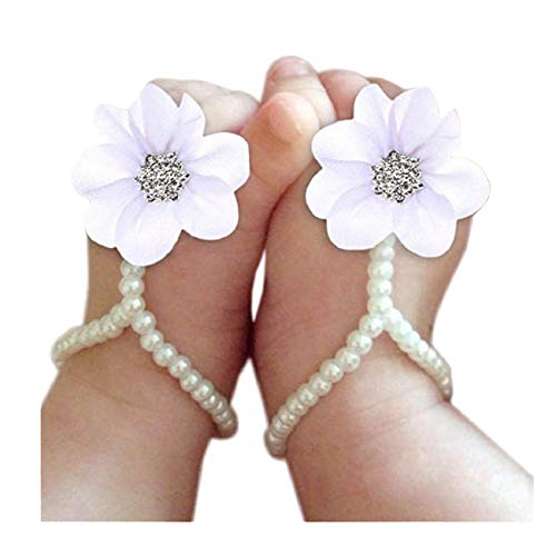 Nurbo Baby Girl Pearl Chiffon Barefoot Rhinestone Flower Decoration Sandals Anklets Photograph Costume (White)