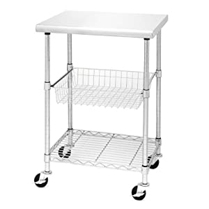 Seville Classics Stainless Steel Professional Kitchen Cart Cutting Table Home Kitchen