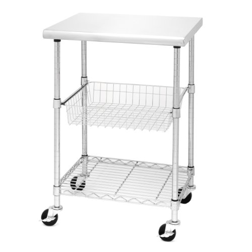 "Seville Classics Stainless-Steel NSF-Certified Professional Kitchen Work Table Cart, 24"" W x 20"" D x 36"" H,"