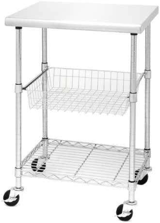 Seville Classics Stainless-Steel NSF-Certified Professional Kitchen Work Table Cart, 24