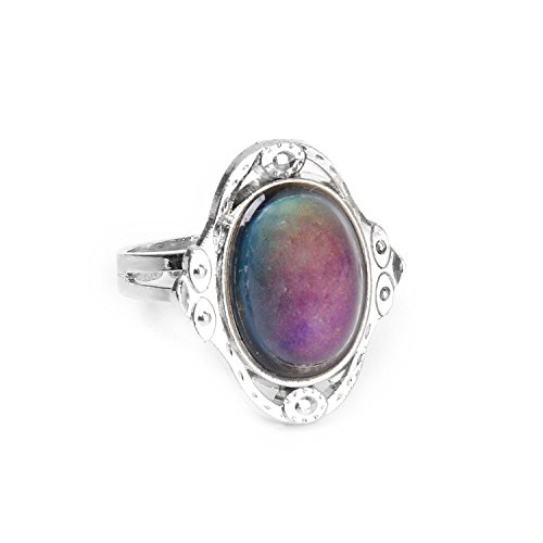 Beautiful Bead Oval Shaped Crystal Stone Mood Ring with Ajustable Inner Diameter for the Unisex
