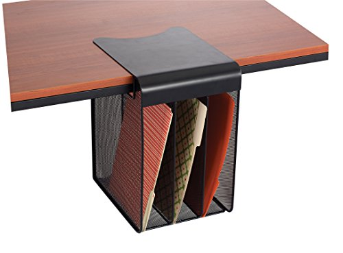 Safco Products 3243BL Onyx Mesh Solid Top Vertical Hanging Desk Storage, Black - Top Mesh Table
