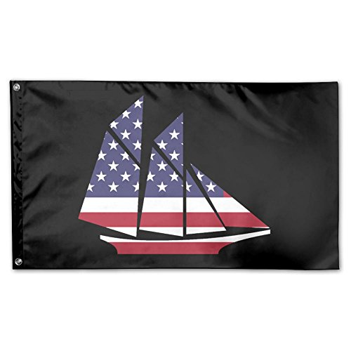 UDSNIS American Flag Sailboat Garden Flag 3 X 5 Flag For Outdoor Decorative Banner Black ()
