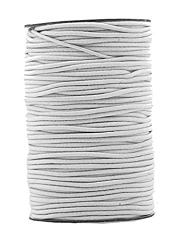 Mandala Crafts 2mm 70M Round Rubber Fabric Crafting Stretch Elastic Cord String (White)