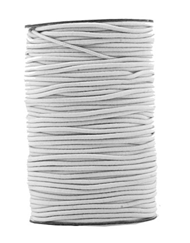 Mandala Crafts 2mm 76 Yards Fabric Elastic Cord, Round Rubber Stretch String for Journals, Beading, Jewelry Making, Masks, DIY Crafting (White) by Mandala Crafts