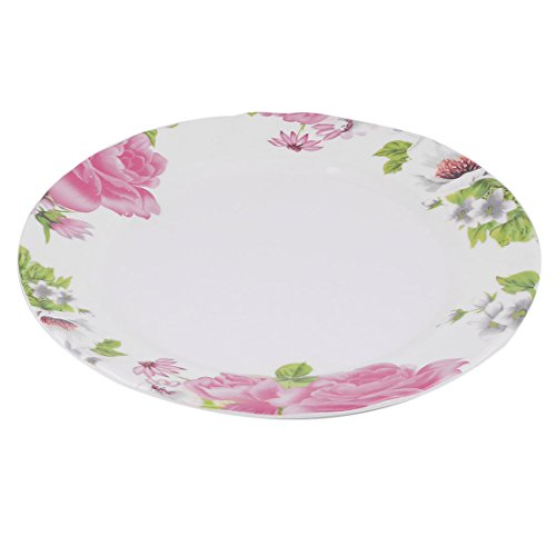 uxcell Plastic Flower Pattern Home Kitchen Food Fruit Plate