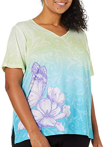Alfred Dunner Plus Butterfly Effect Ombre Scroll Top 1X Green/Blue/Purple