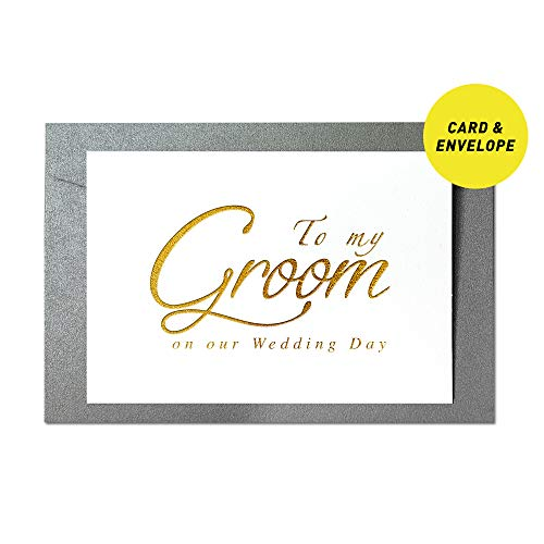 Ihopes Wedding Day Foiled Card | To My Groom on Our Wedding Day Gold Foil Cards with Envelopes | Groom Card | Wedding Vow Card with Gold Foil | Groom Gift from Bride