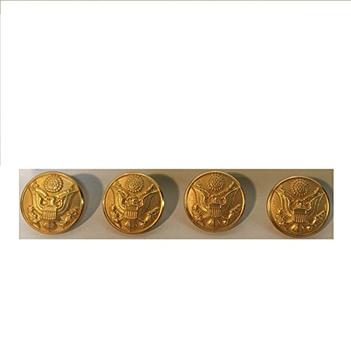 Set of 4 U.S Class A Dress Uniform Buttons Men's Jacket Coat Front Real Gold made in New England