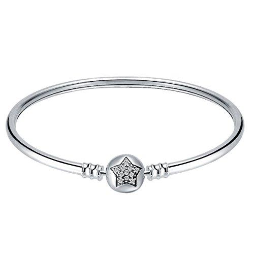 (CHANGLEABLE 925 Sterling Silver Women Bangle Star Bracelet 19CM)