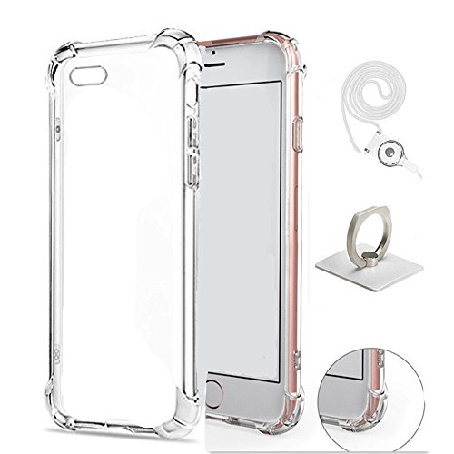 iPhone 7 Plus Case, Luxury Apple iPhone 7 Plus Crystal Clear Shock Absorption Technology Bumper Soft TPU Cover with Ring Holder and Neck Lanyard Case for iPhone 7 Plus 5.5 Inch (2016) - Clear