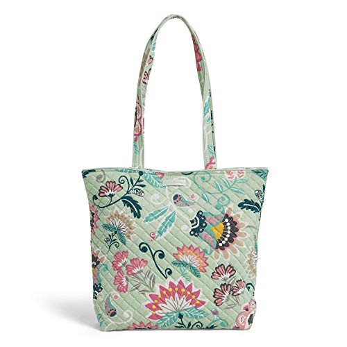 Vera Bradley Iconic Tote Bag, Signature Cotton, Mint Flowers ()