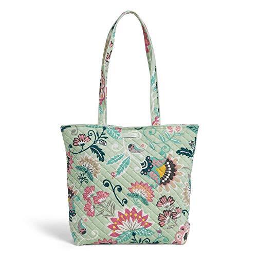 Vera Bradley Iconic Tote Bag, Signature Cotton, Mint Flowers (Zip Tote Easy)