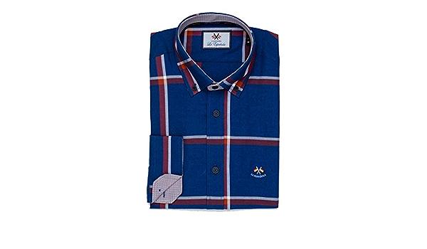 La Española Camisa de Cuadros Grandes Azules y Rojos: Amazon ...
